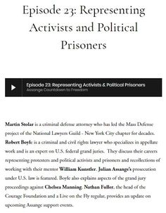 Episode Representing Activists and Political Prisoners — Assange Countdown to Freedom
