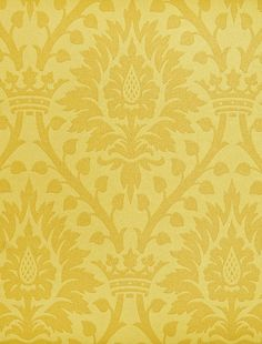 Furnvill Wallpaper - yellow paper with dark yellow demask floral/crown design. Demask Wallpaper, Purple Wallpaper, Yellow Paper, Floral Crown, Green And Purple, Damask, Dining Room, Wall Decor, Tapestry