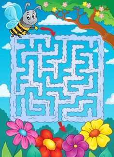 depositphotos_67859833-stock-illustration-maze-2-with-bee-and.jpg (742×1023)