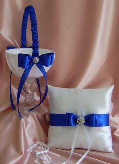 Royal Blue Wedding Color Flower Girl Basket and Ring Bearer Pillow Set