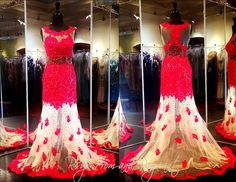 DJ0105890395-RED/NUDE This Dress will definitely make Heads Turn! Red Lace over Nude Sheer Mesh... Stunning! Come and Try it on at Rsvp Prom and Pageant in Lawrenceville, Georgia or buy it NOW at http://rsvppromandpageant.net/collections/long-gowns/products/dj0105890395-red-nude