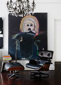 "Sydney apartment of PaulDavies-lounge with Rhys Lee ""Snake VII"" painting"