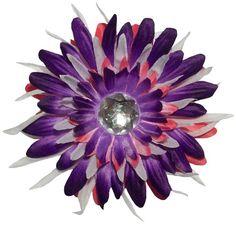 "Purple,Hot+Pink+&+White+Gerber+Daisy+Star+Flowr+Hr+Clip+4.5"""