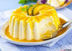 Semifrio de manga Flan, Mousse, Cheesecakes, Deserts, Food And Drink, Sugar, Recipes, Portuguese, Mom