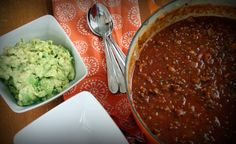 Pumpkin chili and guacamole from Primal Cravings, pumpkin recipe round up, paleo, Whole30, 21DSD