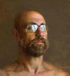 """Self Portrait"" - Jeffrey T. Larson, oil on canvas, 2013 {contemporary figurative artist male head eyeglasses bearded man face painting jeffreytlarson.com"