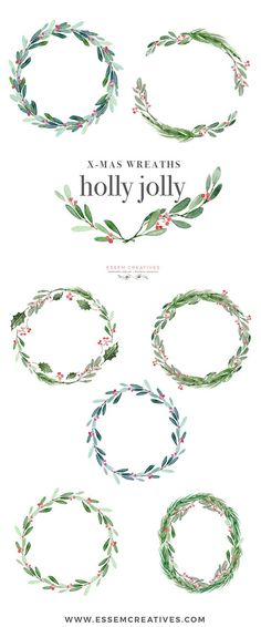 Christmas Wreath Clipart, Holly Jolly Clip Art, Watercolor Winter Clipart, Mistletoe Clipart, Holiday Card Clipart, Festive Digital Graphics, elegant, winter wedding invitations, DIY stationery  This is a set of Christmas Wreath Clipart set. It includes holly jolly wreaths, mistletoe wreaths, pine and conifir branches wreaths which are perfect for christmas cards, christmas party invitations, gift tags & holiday greetings. Use them for your familys holiday cards, printable wall art for yo...