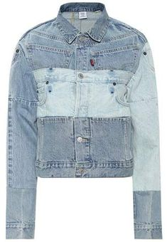 Vetements X Levi's® cropped jeans Jean Jacket Outfits, Blue Jean Jacket, Denim Outfit, Denim Shirt, Denim Bomber Jacket, Denim Ideas, Recycled Denim, Glamour, Denim Fashion