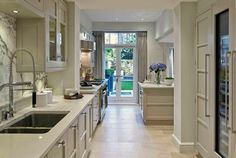 beautiful marble granite white galley kitchen