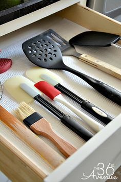 Simplify and Minimize the Cooking Utensils/Tools. Get rid of 17 of the 20 spatulas floating around.