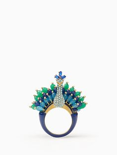 Kate Spade full plume peacock ring, blue multi, large