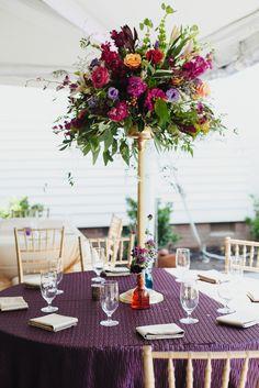 Merrimon Wynne House Wedding - Colorful Flower Table Arrangement - Brett & Jessica Photography - NC Wedding Planner Orangerie Events