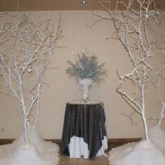 Ashton & Jared Mattingly's Wedding-this arrangement and six white snow covered trees were in the foyer at the reception