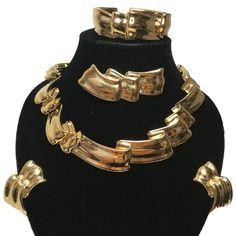 Vtg Givenchy Parure Set Goldtone Ribbon 1980s Necklace Bracelet Brooch Earrings #Givenchy