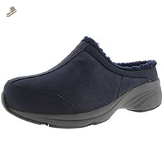 Explore 24 by Easy Spirit Womens Sheltie Faux Fur Mules Navy 7.5 Wide (C,D,W) - Easy spirit mules and clogs for women (*Amazon Partner-Link)
