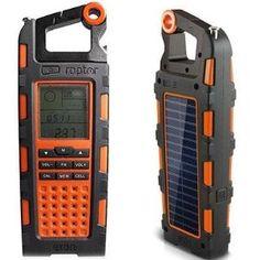 Raptor Solar Charge Radio by Eton Corp.. $119.00. Raptor Solar Charge RadioRaptor Solar Charge Radio with All-terrain Guidance Functions; Monocrystal solar panel, solar powered USB phone charger, Digital Display, Alimeter, Barometer, Compass, Chronograph, AM/FM/Weatherband radio, NOAA weather alert, 20 presets, Digital clock/alarm, splash proof (IPX-4 rated), Audio line in, battery charge indicator, bottle opener, carabiner, dc input (not included) ... Orange*...