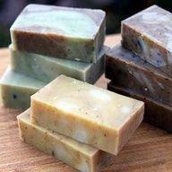 Handmade soap recipes for Lemongrass Ginger Coffee Kitchen Soap, Rosemary Spearmint Shower Soap, and Orange Vanilla Cinnamon Soap.