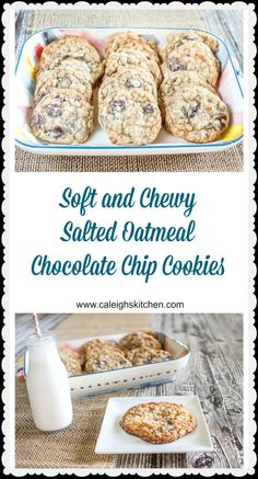 A must make Chewy Salted Oatmeal Chocolate Chip Cookies made with Browned Butter!! | Caleigh's Kitchen