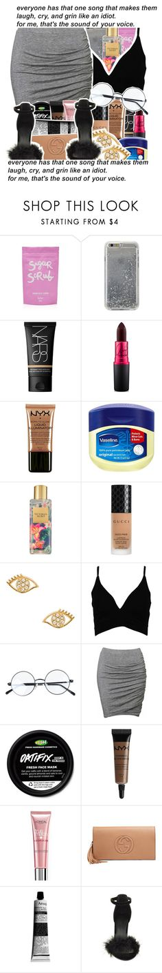 """""""everyone has that one song..."""" by tynescloset ❤ liked on Polyvore featuring Agent 18, NARS Cosmetics, MAC Cosmetics, NYX, Vaseline, Victoria's Secret, Gucci, Rebecca Minkoff, Boohoo and Witchery"""
