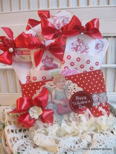Vintage valentines cupid treat pocket full of tags and envelopes and postcards decoration treat bag