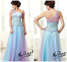 Rainbow Tulle One Shoulder Prom Dance Gowns Crystals Beaded Floor Length A-Line 2014