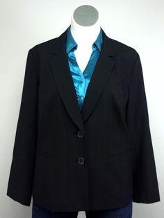 Sejour 18W Black Structured Two Button Lined Blazer Jacket Plus Size #Sejour #BlazerJacket
