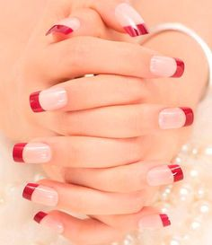 French Nails Tips Natural Simple Design Short Full Cover faux ongles with Glue Sticker for Home Office French Acrylic Nails, French Tip Nails, Acrylic Nail Designs, Nail Art Designs, Holiday Nails, Christmas Nails, Fall Nails, Winter Nails, Red Tip Nails