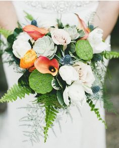 Thank you @ruffledblog for the love today! This bouquet is one of my favorites as the couple let me play with all my favorite things:  #ferns, #moss and #cotton  #bridalbouquet #orangecountyweddings