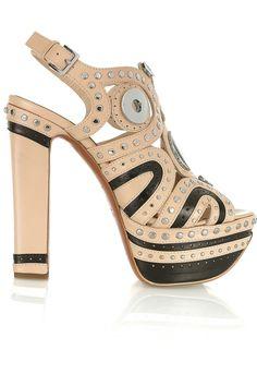 Alaïa embellished nude and black leather platform sandals. OMG.