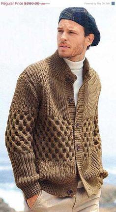 MADE TO ORDER men hand knitted cardigan turtleneck sweater cardigan men clothing wool handmade men's knitting aran cabled crewneck Knitting Designs, Knitting Patterns, Crochet Men, Hand Knitted Sweaters, Sweater Design, Knit Fashion, Knit Cardigan, Cardigan Outfits, Cardigan Fashion