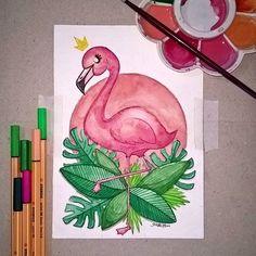 """006 - """"Flawless"""" #flamingo #pinkflamingo #pink #bird #draw #drawing #drawings #sketch #sketchbook #sketching #art #artsupplies #artmaterials #gideism #desenho #esboço #passaro #watercolor #aquarela #rosa #green - Gostou desta ilustração, o que você gostaria de ver aqui ?"""