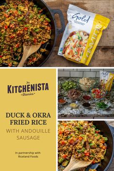 #ad: Recipe for Duck & Okra Fried Rice featuring @ricelandfoods Long Grain Gold Rice, shredded duck confit, charred okra, peppers, onion, celery, and creole spices. Cooking Chicken To Shred, How To Cook Chicken, Creole Spice, Okra Fries, Duck Confit, Celery Rib, Roast Duck, Duck Recipes, Creole Seasoning
