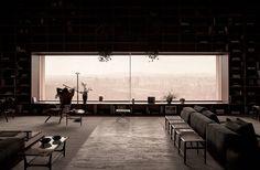 studio mk27 - marcio kogan, Jonas Bjerre-Poulsen · SP Penthouse | Rectangular Windows | Bookshelves | City View | Interior Space | Horizontal Window