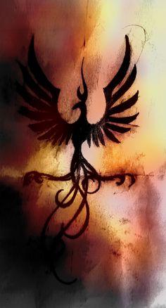 Dashing Standing Phoenix Bird Tribal Tattoo
