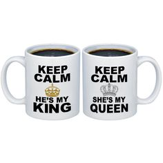 Silver and Gold Crowns Keep Calm He's My King She's My Queen Ceramic... ($16) ❤ liked on Polyvore featuring home, kitchen & dining, drinkware, drink & barware, home & living, mugs, silver, ceramic mugs, ceramic coffee mugs and couple mugs