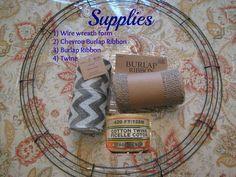 Chevron Burlap Wreath Tutorial | Gathered In The Kitchen | Gathered In The Kitchen