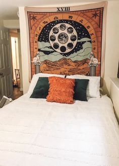 TapestryGirls.com Living Room Bedroom, Dorm Room, Dorm Shopping, Blanket On Wall, The Moon Tarot, Moon Tapestry, Medieval Tapestry, Bedroom Styles, Bedroom Ideas