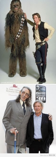 The disreputable pilot and his hairy wingman, 30 years later. Love the lightsaber cane.
