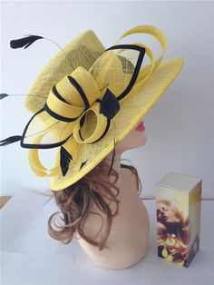 2014 Newest Women's Sinamay Yellow with Black Adjustable Medium Brim Hat,For Church, Wedding, Derby on Etsy, $59.99