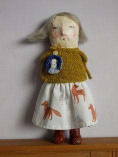 fox girl - mixed media papier mache art doll by maidolls on Etsy, Fabric Dolls, Fabric Art, Bird Nest Craft, 3d Figures, Fox Girl, Paperclay, Felt Dolls, Doll Face, Beautiful Dolls