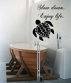Wall Decals Vinyl Decal Sticker Quote Slow Down Enjoy Life Turtle Sea Ocean Animals Bathroom Living Room Home Interior Design Kg842 tanyastickers
