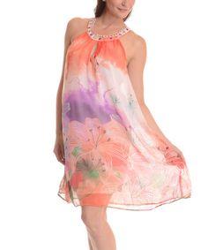 Another great find on #zulily! Orange Floral Tie-Dye Yoke Dress #zulilyfinds