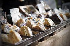 display baked goods in vintage bread pans
