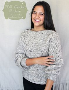Crochet Pattern: The Autumn Sweater-6 Sizes Child XS, Sm, Med; Adult XS, Sm, Med-fall, chunky, warm, tweed, boatneck, button on Etsy, $4.00