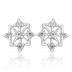 Mahi Silver Mesh Studs With Rhodium Plating And CZ Stones