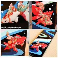 金魚が優雅に泳ぐ塗板飾り。塗板飾り/水面[みなも]・夏旬感【特価】【送料無料 代引き料無料】【和雑貨 和風 和小物 ちりめん細工 きんぎょ 置物 吊り飾り インテリア】【smtb-k】  05P30May15【RCP】