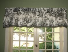 Colonial Black and White Toile Valance by TheCarriageDesigns