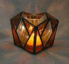 Candle Holder  Stained Glass G1284 Amber by SierraCreations, $40.00