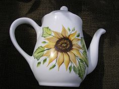 Painted Sunflower Teapot Hand Painted by LisasPaintedCrafts, $25.00