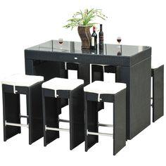 Outsunny 7-piece Black Rattan Wicker Dining Set (Black PE Rattan), Size 7-Piece Sets, Patio Furniture